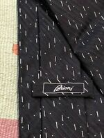 Vintage Brioni Silk Tie Black & White Wide Made in Italy