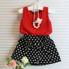 Baby Girls Kids Children Top+Vest Pleated Skirt Dress Clothes Set Suit 110 US
