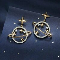 Fashion Hollow Gold Star Moon Planet Rhinestone Earrings Stud Dangle Women Gift