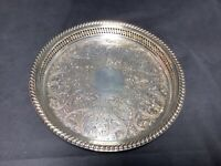 """WM Rogers #671 Silver Serving Plate Tray  Reticulated 12"""" Spring Flowers"""