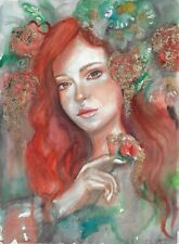 original painting A3 76HO art samovar Realism Watercolor female portrait Signed