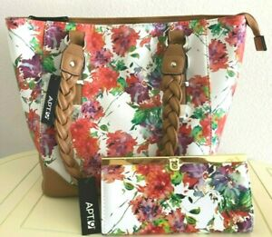 LOT OF 2 Women APT.9 Floral Tote Handbag & Matching Wallet Floral Multi $99 RARE