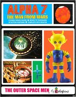 Vintage 1960 Colorforms Aliens Outer Space Men ALPHA 7 Action Figure & Card Rare