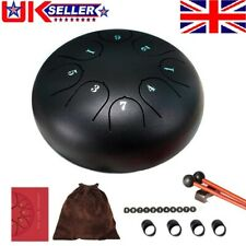 More details for 6 inch steel tongue drum 8 tone g tune hand pan tank drums percussion set black