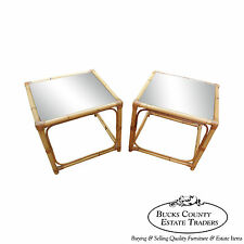Vintage Quality Rattan Pair of Square Cube End Tables (B)