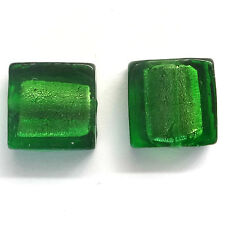 20 Emerald 12mm Silver Foiled Glass Square Beads