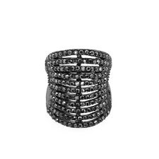 Stunning Black Color Wire Wrap Ring with Black Crystals Size 8