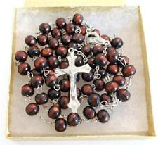 Wooden Beaded Chain Rosary Necklace Silver ton Crucifix