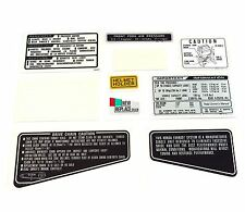 Warning and Service Label Decal Set ✰ 1981-1982 Honda CB900F ✰ Black Super Sport
