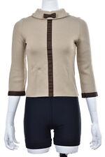 Paul & Joe Top Size 1 Beige Brown Mock Neck Sweater Wool Shirt Casual