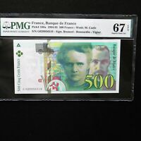 1994-95 France 500 Francs, Pick # 160a, PMG 67 EPQ Superb Gem Unc