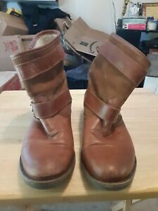 Aldo Slouchy Brown/Tan Leather Mid Calf Boots with Straps and Buckles
