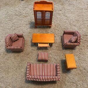 Melissa and Doug Signed Victorian Wood n Enamel Dollhouse Living Room Furniture
