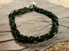 New listing Black and green byzantine Chainmaille cat Collar witch gothic wicked theme