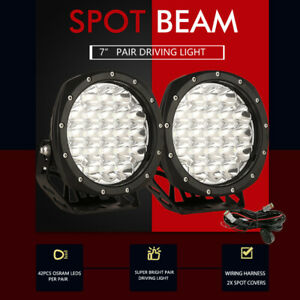 Pair 7inch OSRAM LED Driving Lights Spot Spotlights Round Ute Work Offroad Lamp
