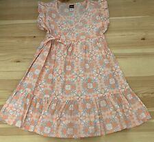 TEA Collection Pink/Gray Floral Wrap Dress Size 5 5T EUC