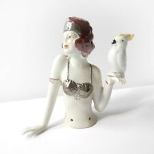 Art Deco German Porcelain Ceramic Flapper Girl with Parrot Pin Doll Half Doll