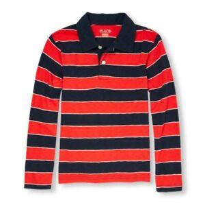 Boys Long Sleeve Striped Polo, Size L (10/12)