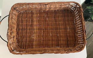 Square Wicker Woven Basket Tray with Metal Handle Storage Decor
