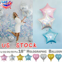 1-50PCS Heart Star Shape Helium Foil Balloon Home Party Decor Birthday Ballons