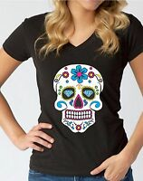 Sugar Skull Colorful V-NECK WOMEN T-Shirt Day of the Dead Mexican Gothic Gift