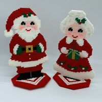 Handmade Santa Claus and Mrs Claus Figurines Plastic Canvas Great Detail