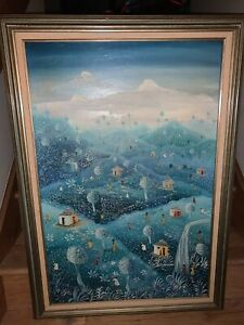 Antique Oil Painting On Canvas Artist Signed Savid 1983
