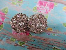 Set of 2 Shabby So Chic Pink & Clear Jeweled Cabinet Drawer Knob PullS Silver