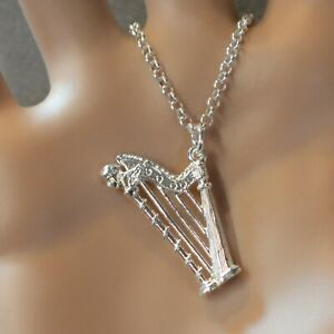 new sterling silver large harp pendant & chain