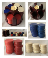 """VINTAGE Poker Chips Cardboard with Round Plastic 5"""" Caddy Maroon Made in USA"""