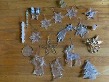 Vintage Lot of 19 angel reindeer star + Christmas Tree Ornaments Clear Acrylic