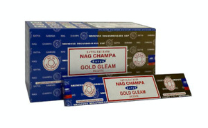 Satya Gold Gleam Nag Champa Incense Joss Sticks 15g available in 3 or12 Pack