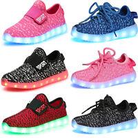 Boys Girls Upgraded USB Charging LED Light Luminous Shoes Kids Flashing Sneakers
