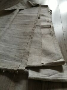 Antique  homespun Hemp Fabric 12,2x0,47m 19thC Gray Good storage condition