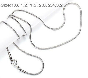 """One Day Ship 18""""-32"""" Mens Womens Stainless Steel Necklace Chain snake Chain"""
