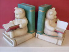 """VINTAGE CHILDRENS CERAMIC BOOKENDS. """"TEDDY BEARS READING,"""" GC"""