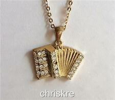 Gold Plated Crystal Accordion Necklace Music Musical Instrument Teacher Gift USA