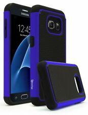 For Samsung Galaxy S7 Hybrid Blue Silicone Black Trimming Cover Case