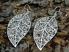Gorgeous Filigree Leaf Earrings Silver Plated Drop Dangle Style Long 7cm Lush
