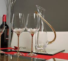 New Gold Swarovski Crystal Filled Decanter & Pair of Matching Wine Glasses