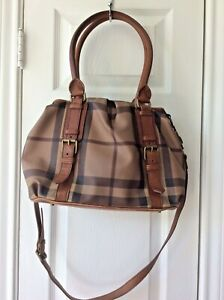 Authentic Burberry Smoked Check Handbag Canvas & Leather Tote *FAST SHIP*