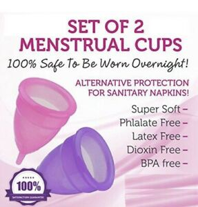 Set of 2 Menstrual Cups With Free Bag, Period Cup Large Soft Silicone