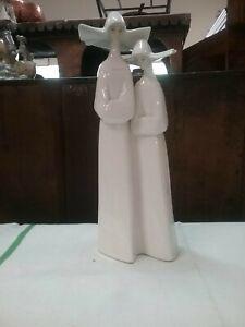 Lladro Tall Pair of White Nuns  Figurine.
