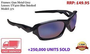 RayZor Uv400 Sports Wrap Sunglasses Gunmetal Grey Blue Smoked Lens RRP£49
