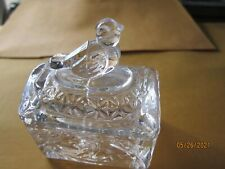 Clear Glass Trinket Box Bird Figurine on top & etched sides Vintage 2 1/2x1 1/2