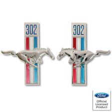 "1968 Ford Mustang Fender Emblem ""302"" w/Running Horse Left & Right Side 2pcs New"