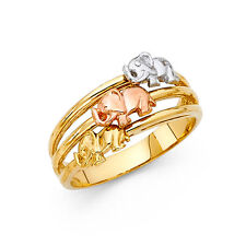 Ring Three Tone Tri Color Fashion Ring 14K Solid Yellow Gold 3 Fancy Elephant