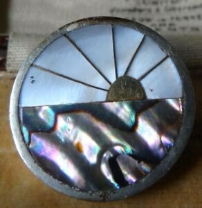 vintage signed ALPACCA sun rise abalone mother of pearl brooch or pendant -P136