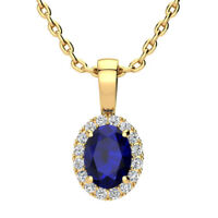 "14K YELLOW OR ROSE GOLD 1.10CT OVAL SAPPHIRE & HALO DIAMOND PENDANT W/18"" CHAIN"