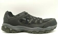 Skechers Black Leather Mesh Steel Toe Lace Up Sneakers Shoes Men's 12 EEEE / 4 E